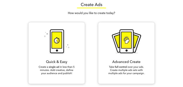 Choix de création de la publicité Snapchat