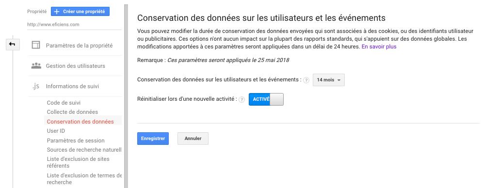 Google Analytics RGPD Conservation des Données