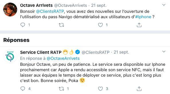 twitter pass navigo iphone reponse