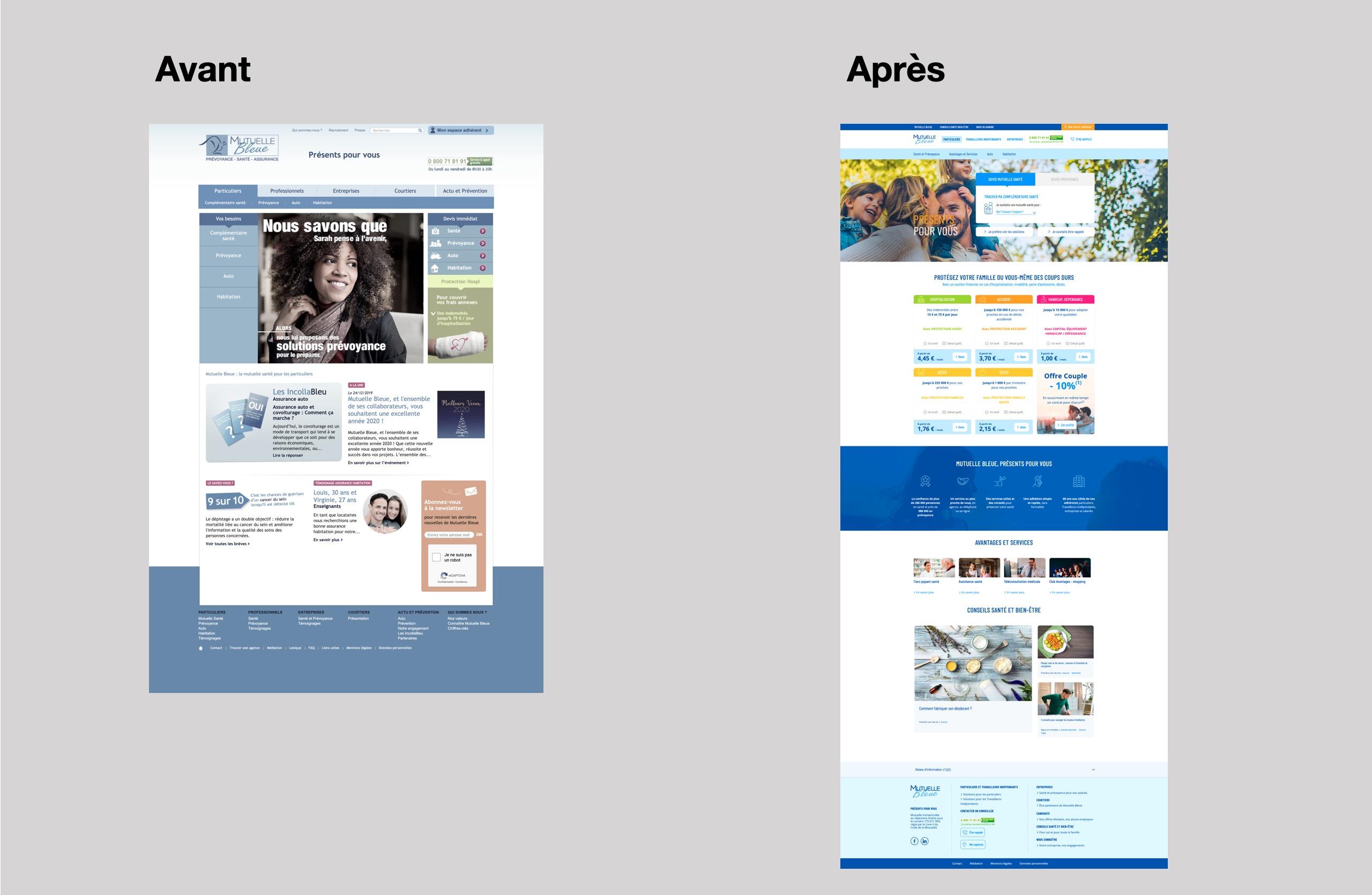 refonte site web mutuelle bleue avant apres