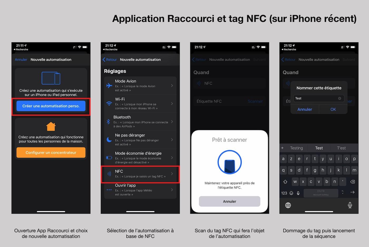 tag nfc application raccourci ios 14 iphone