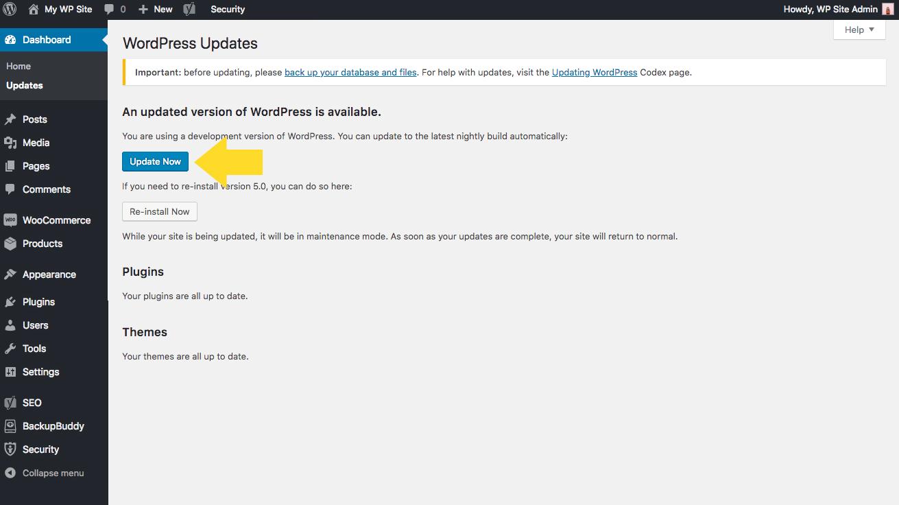 wordpress-comment faire la mise à jour