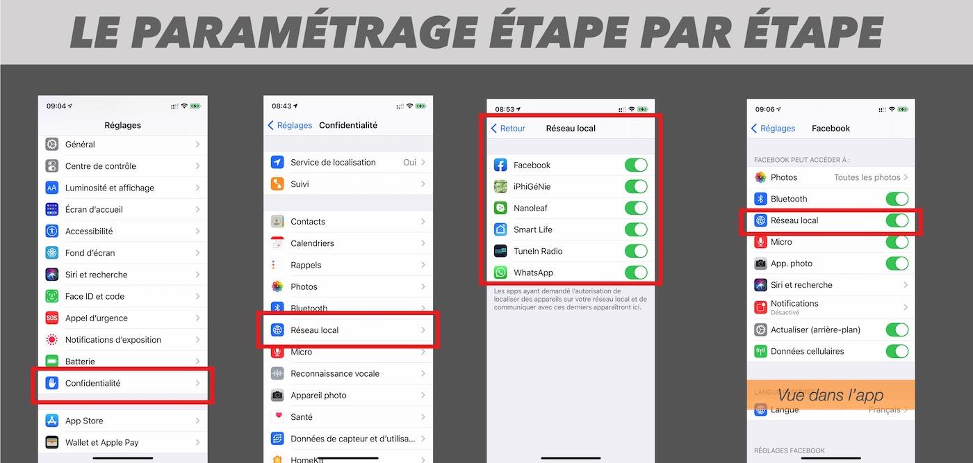 comment parametrer le reglagle une app souhaite acceder au reseau ios iphone