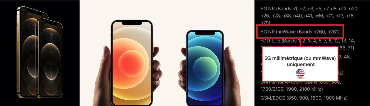 iphone 12 5G millimetrique mmwave bandes couvertes