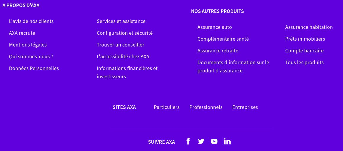Footer - Home page Axa