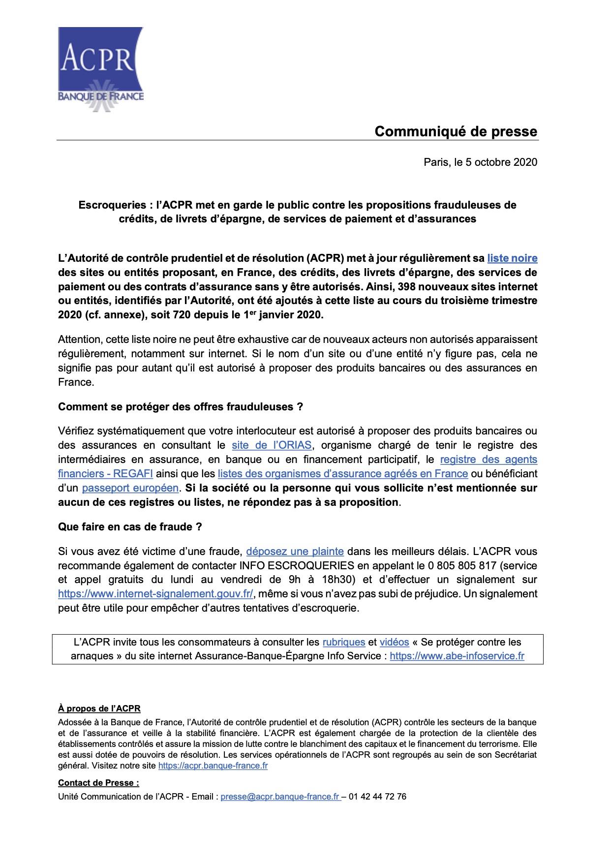 Sites frauduleux assurance 20201005_cp_acpr_liste_noire_credits_livrets_paiements_assurances P1
