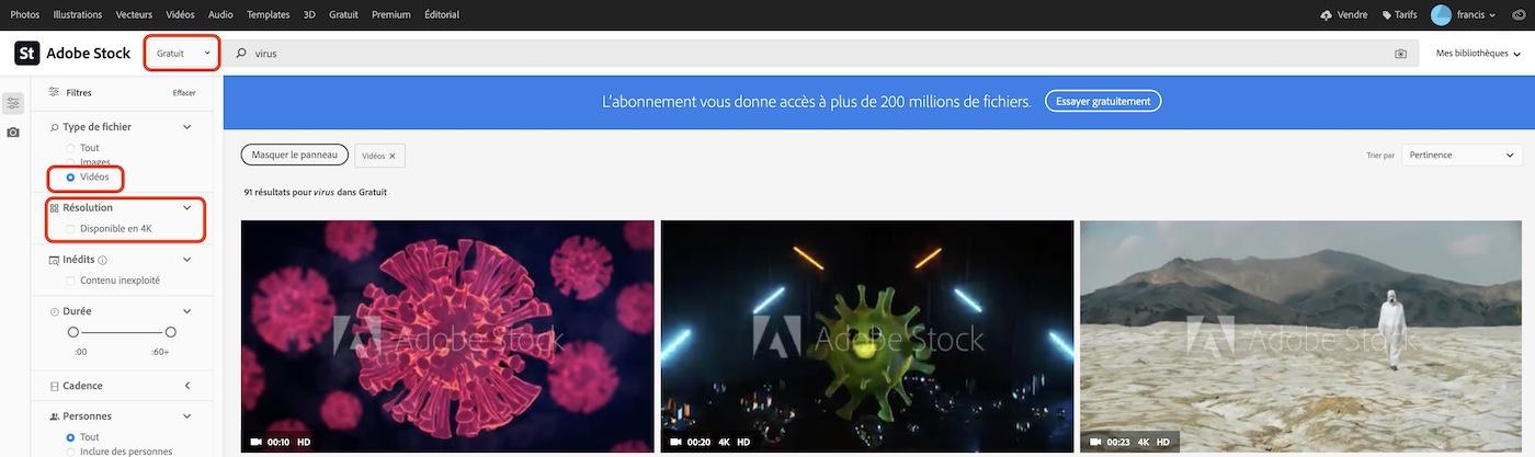 adobe stock videos gratuites free HD 4K