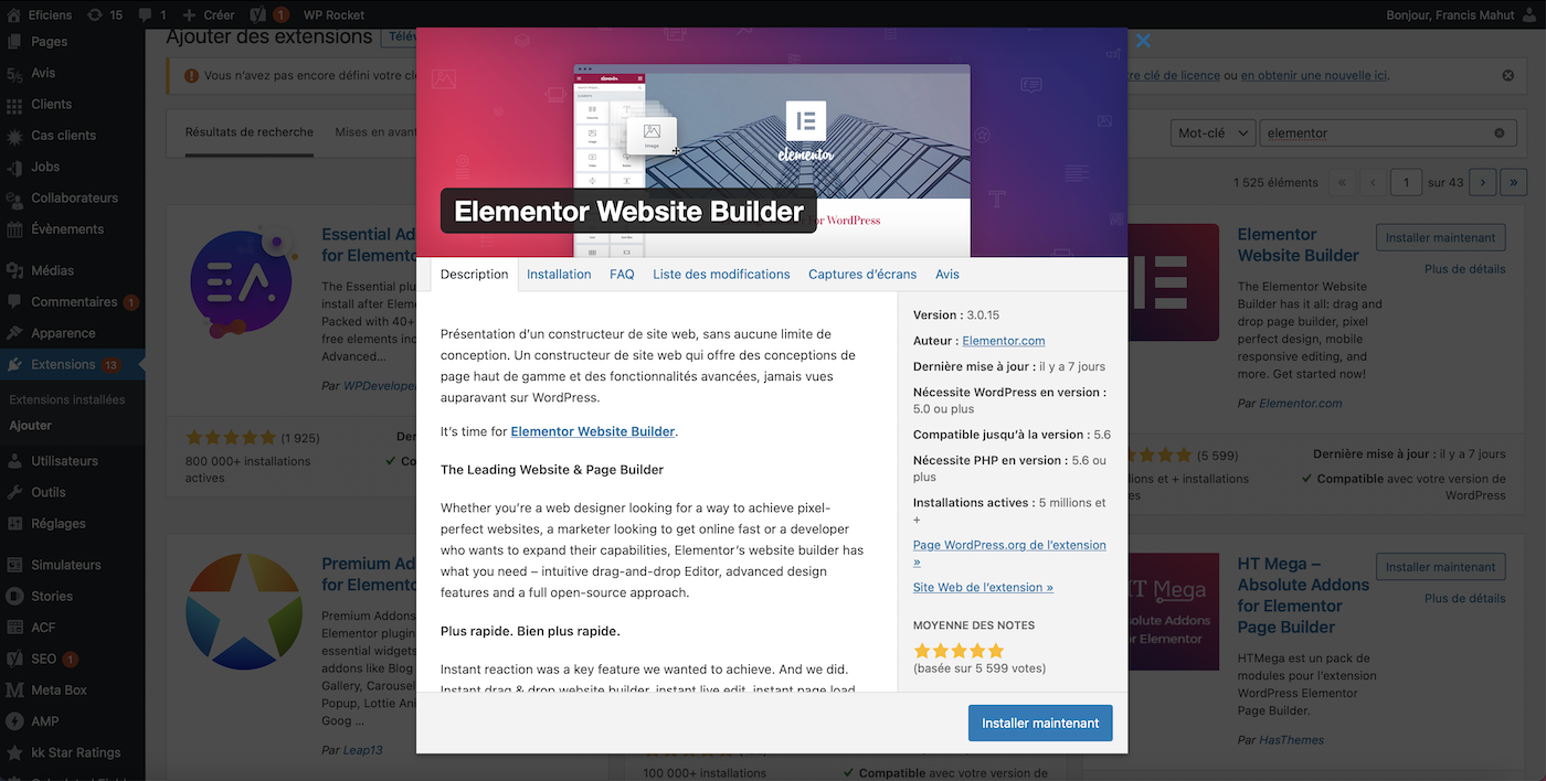 page installation elementor extension wordpress