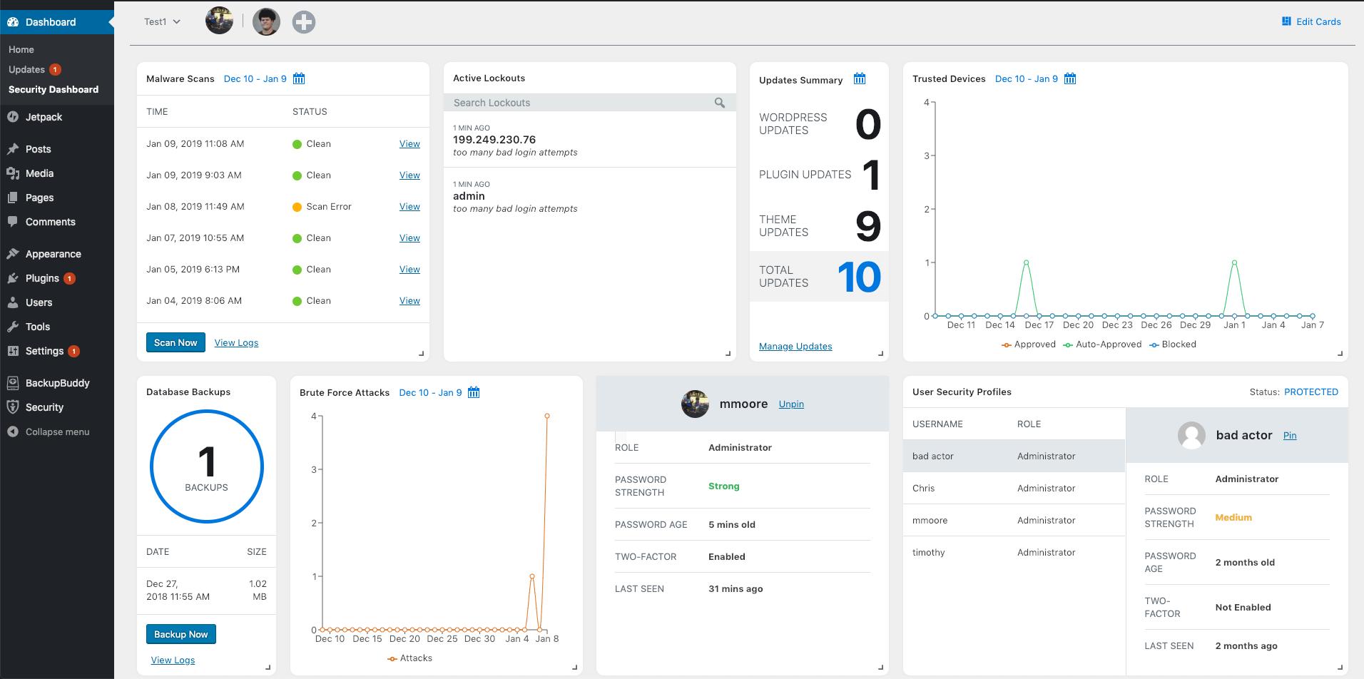 Tableau de bord de la nouvelle version de iThemes Security