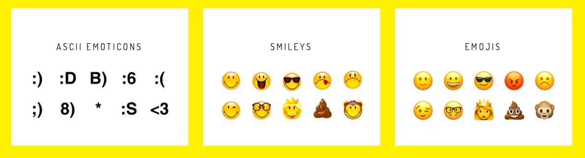 differences entre smiley-emoticones-emojis