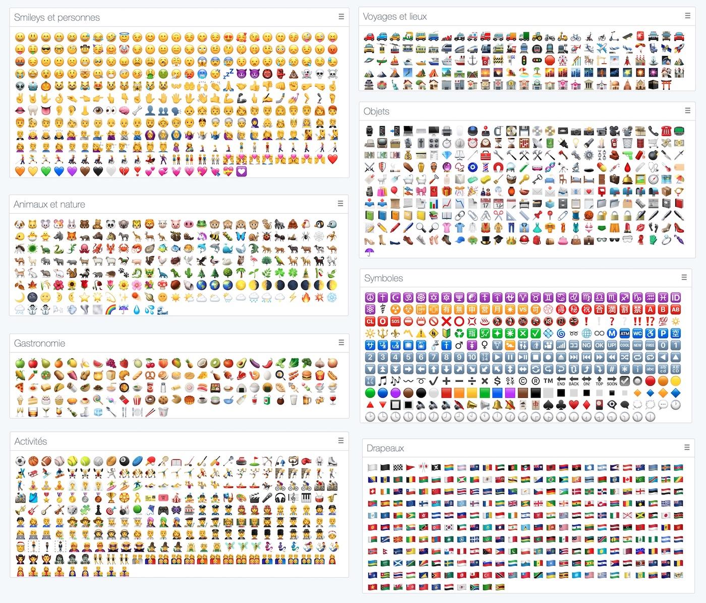 liste complète de tous les emojis sur iphone