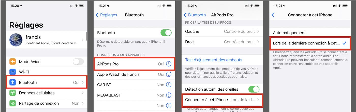 acces au menu basculement automatique iphone airpod