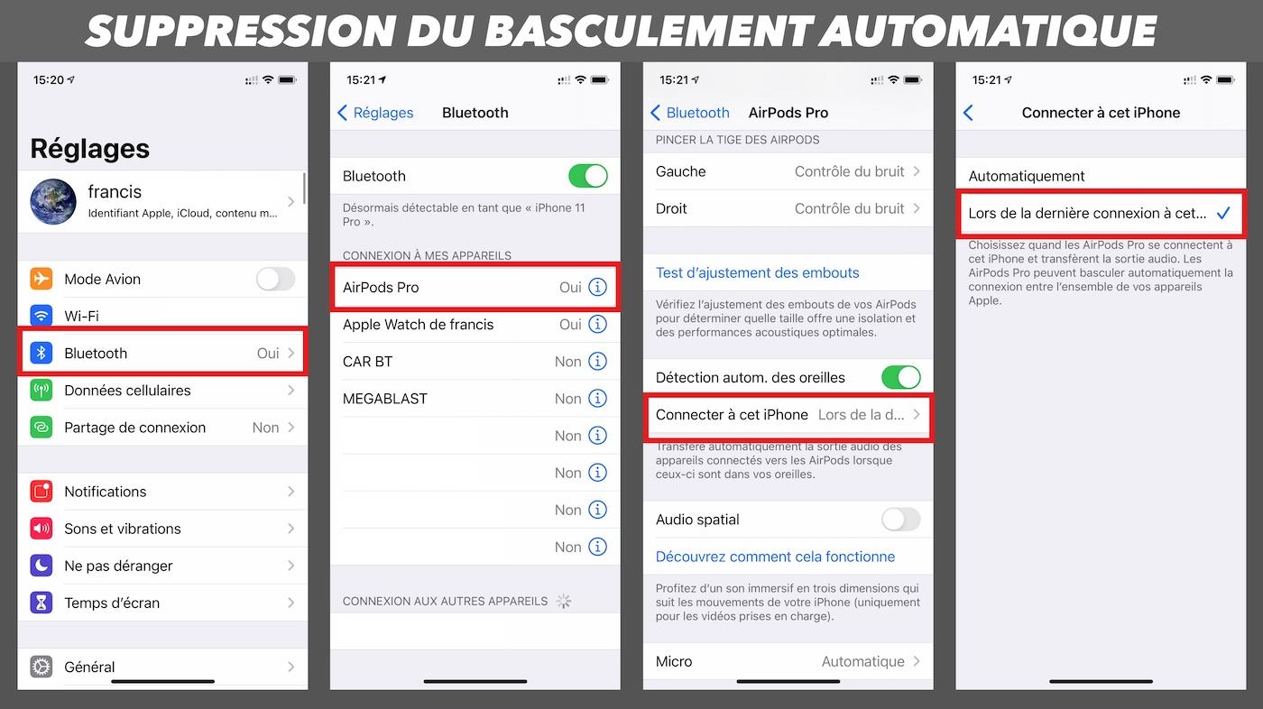 airpod probleme suppression basculement automatique ios iphone