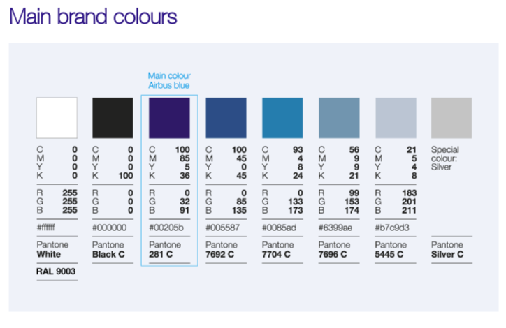 design system airbus couleur exemple