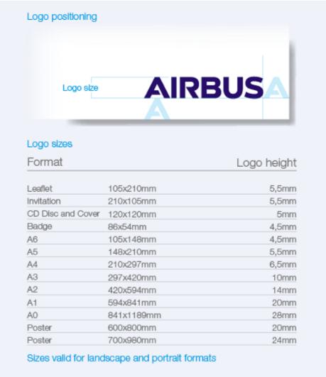 design system airbus logo taille