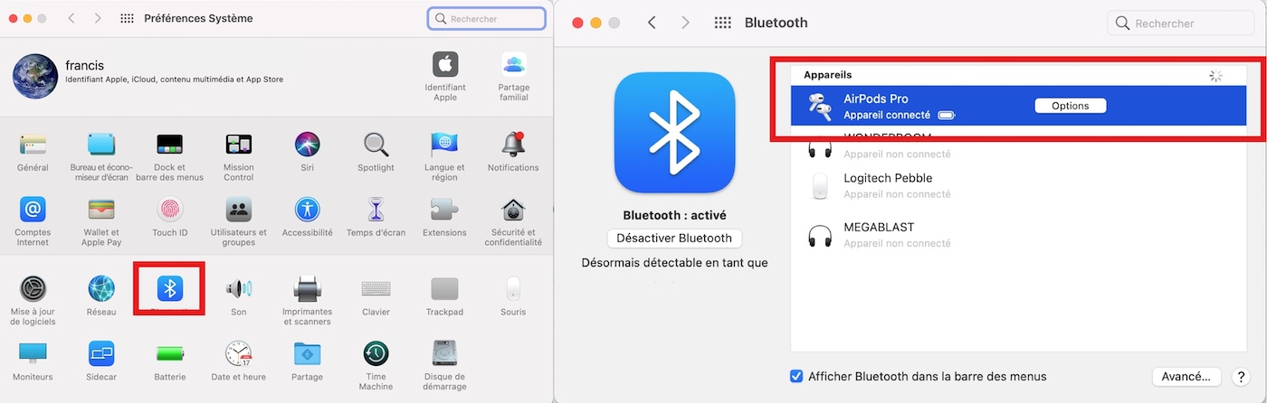 preferences systeme bluetooth airpod