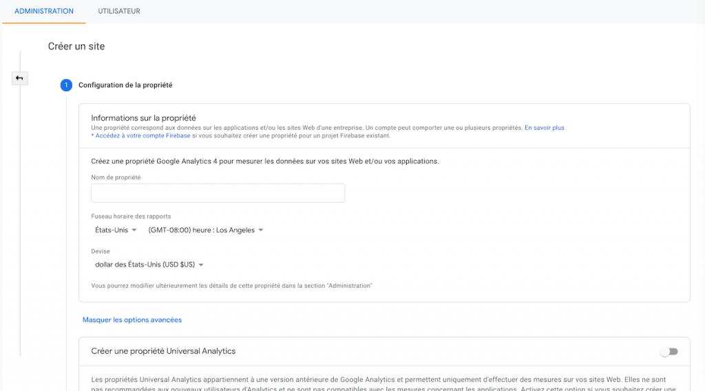 Google Analytics 4 Nouvelle Propriété