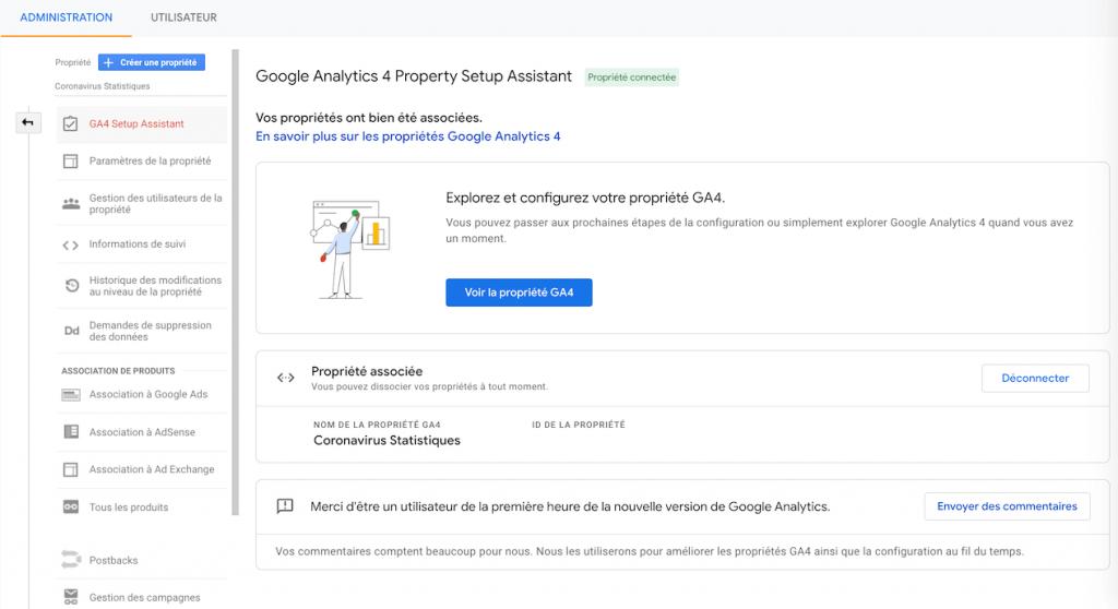 Google Analytics 4 Assistant de Propriété
