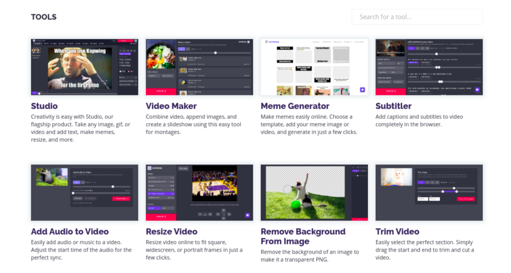 kapwing video outils