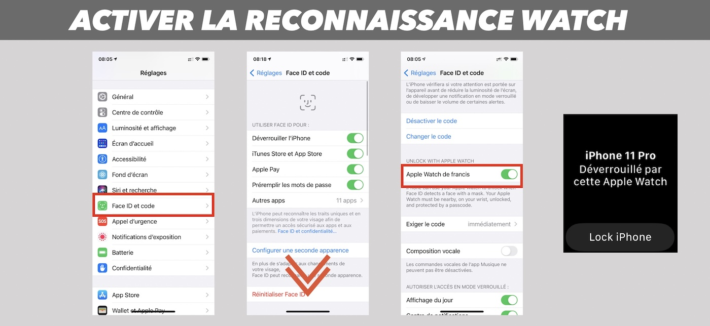 reconnaissance apple watch masque ios 145 deverrouillage iphone