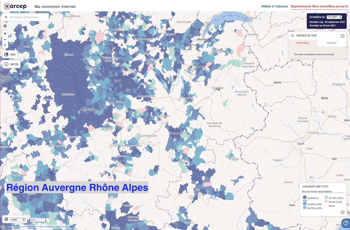 Carte deploiement fibre region auvergne rhone alpes